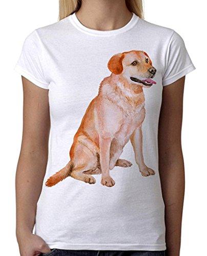 Price comparison product image Junior's Watercolor Labrador Retriever Dog Tee B857 PLY White T-Shirt Small