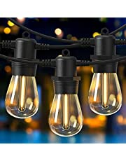 Novtech Outdoor String Lights with 53FT 15+1 Bulbs, Connectable Shatterproof Led Patio String Lights, IP65 Waterproof Decorative Outdoor Lights Hanging Globe String Lights for Backyard Garden Bistro Party Cafe Gazebo Deck - Warm White
