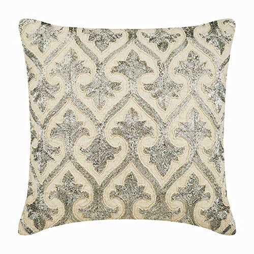 The HomeCentric Funda de Almohada Decorativa Beige y Plata ...