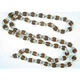 Rudraksha Prayer Beads Healing Mala with Silver Caps Shiva Japa Mala Meditation Yoga Mala