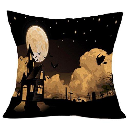Gotd Halloween Pillows Cover Decorations Decor Halloween Throw Pillow Case Sofa Waist Throw Cushion Cover Home Decor Square 45 x 45cm 18 x 18inch (11) ()