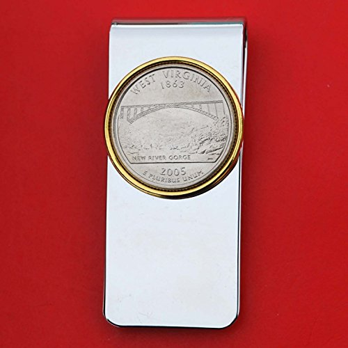 (US 2005 West Virginia State Quarter BU Uncirculated Coin Solid Brass Gold Silver Two Tone Money Clip New - High Quality)