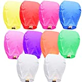 Colorful Chinese Lanterns - Paper Flying Sky Lanterns - 100% Biodegradable Paper Lanterns Multicolor Assortment for Birthdays, Parties, New Years, Memorial Ceremonies, and More – 10 Pack