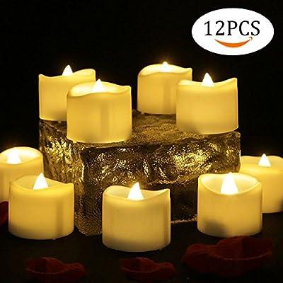 12 PCS Velas LED Luz de la vela del LED Luces Led Amarillo ...