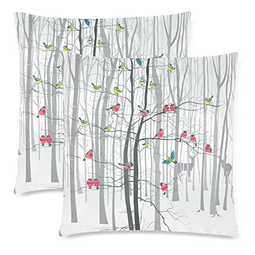 InterestPrint 2 Pack Winter Forest Landscape Cotton Pillowcase 18x18 Cushion Case Cover Twin Sides, Christmas Tree with Bird Zippered Throw Pillow Case Cover Set Decorative for Couch Bed