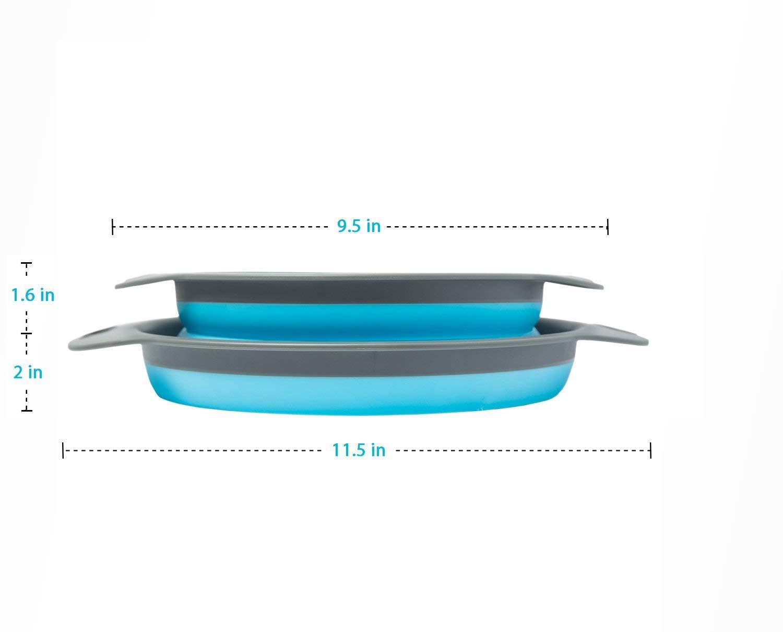2 quart et 24,1 cm Comprend 2 passoires pliantes de 20 cm XelparucTS Lot de 2 passoires pliables 3 quart bleu et gris