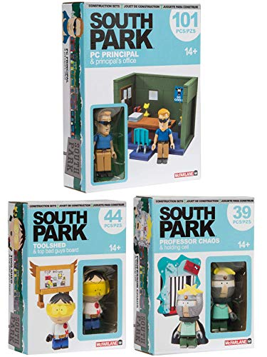 AYB School Office Set South Park Bundle Cartoon Building Toy PC Principal + Toolshed Bad Guys Board + Professor Chaos & Holding Cell 3 Pack Characters