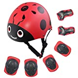 LANOVAGEAR Kids Protective Gear Set Adjustable Helmets Knee Elbow Pads Wrist Guards for Sports Bicycle Skateboard Roller Blading Skate Cycling (Red, Small)