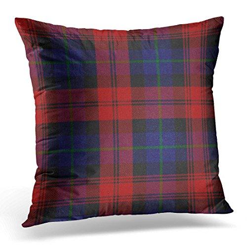 VANMI Throw Pillow Cover Blue Accent MacLachlan Tartan Plaid Red Scottish Decorative Pillow Case Home Decor Square 20x20 Inches Pillowcase ()
