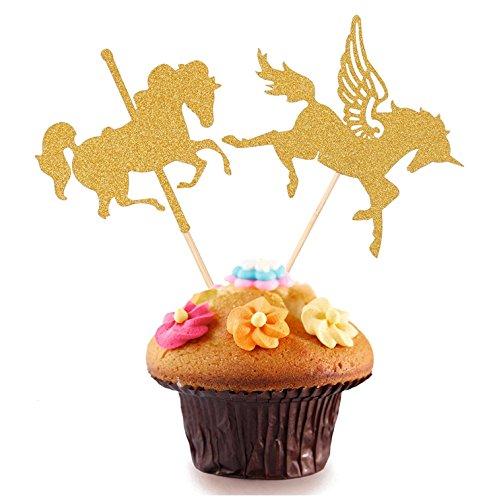 10 pcs Gold Unicorn Pegasus Cake Toppers Wedding Favors Boy Girl Kids Favor Baby Shower Birthday Party Cake - Golden Star Ferries