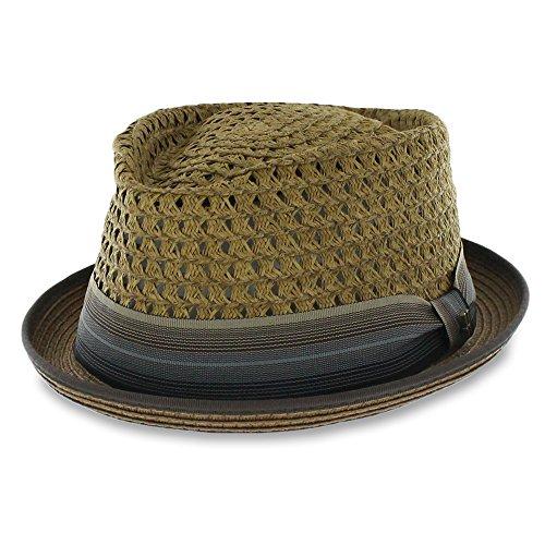 - Belfry Men/Women Summer Straw Pork Pie Trilby Fedora Hat in Blue, Tan, Black (Brown, Medium)