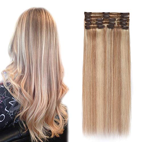 Double Weft 100% Remy Human Hair Clip in Extensions #18/613 10''-22'' Grade 7A Quality Full Head Thick Long Soft Silky Straight 8pcs 18clips(20
