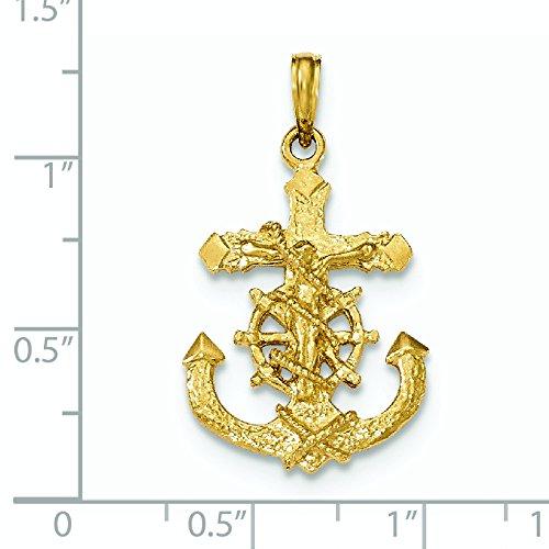 14carats poli et texturé 2D Mariners Croix Pendentif Corde de roue-16