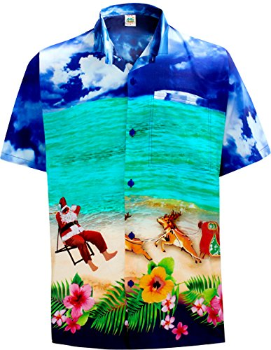 Aloha Gift Card (La Leela Aloha Hawaiian Tropical Beach Solid Plain Mens Casual Short Sleeves Button Down Tropical Shirts 5XL Blue)