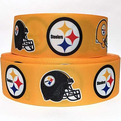 "Grosgrain Ribbon 1.5"" Steelers Sports Football Printed Per Yard"