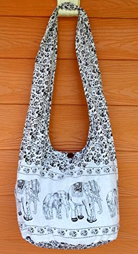 Thai Hippie Hobo Shoulder Bag Crossbody Sling Yaam Elephant & Zip - Philip Glasses Lim