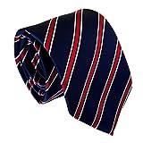 Secdtie Men Classic Blue Red Striped Jacquard Woven Silk Tie Formal Necktie Y 55