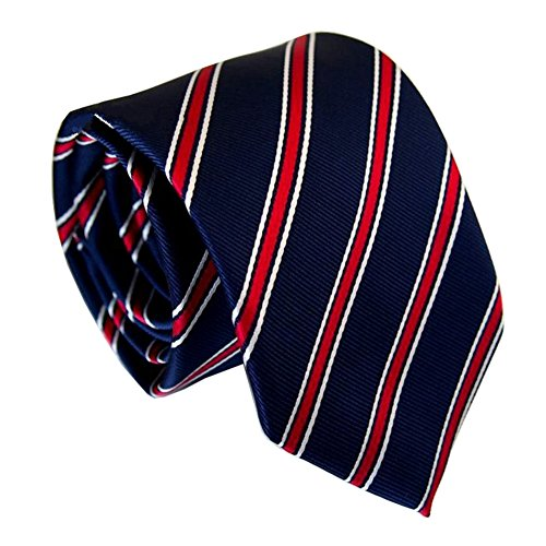 Secdtie Men Classic Blue Red Striped Jacquard Woven Silk Tie Formal Necktie Y ()