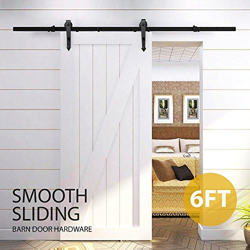 Yaheetech 6 FT Modern Black Steel Interior Sliding Barn Wood Door Cloest Hardware Track Kit Set