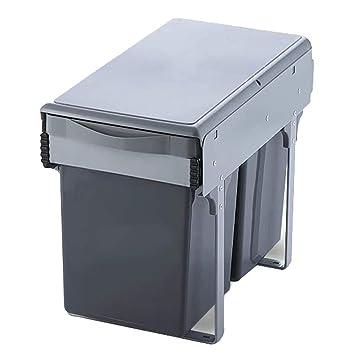 LXZ#Homegift Mülleimer Home Küche Versteckte Bins Pull Out Schrank Bins  Grau Double Barrel