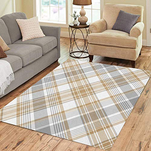 (Pinbeam Area Rug Beige Plaid Platinum Gold Tartan Diagonal Gray Stripes Home Decor Floor Rug 3' x 5' Carpet)