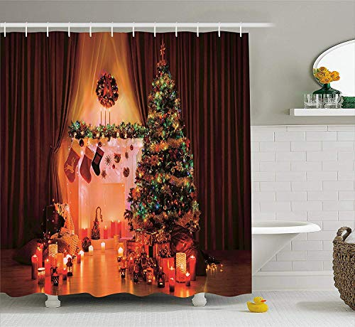 GOOESING Mildew Resistant Polyester Bath Curtains Christmas Candles Lights Stockings Gift Boxes Shower Curtain for Bathroom Bathtub Decoration with Hooks 72 x 72 in