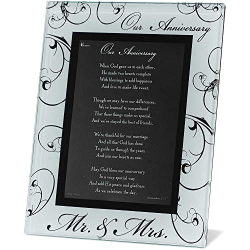 Mr. and Mrs. Our Anniversary Black and White 8 x 10 Glass Photo Frame