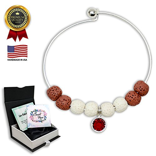 (Mother's Day Gift-Aromatherapy Essential Oil Diffuser Bracelet Jewelry with Swarovski Birthstone (Siam) and Red Lava Rock for Women - Stress and Anxiety Relief Bangle (January))