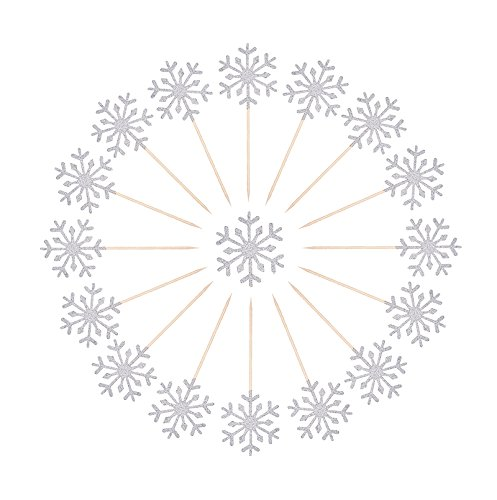 Topfun 30 Counts Snowflake Cupcake Toppers Glitter Cake Topper Picks for Christmas Kid's Birthday Party Baby Shower Wedding Cake Decoration (Silver)