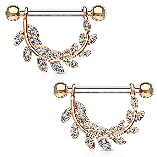 - Dynamique CZ Paved Leaf Hanging 316L Surgical Steel Barbell Nipple Ring (Rose Gold-Pair)