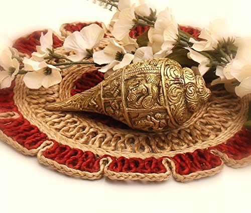 Solid Brass Seashell (SouvNear Sea Shells Brass Conch on Ganesh Ganpati Metal Art Statue 5 Inch Collectible Figurine Vintage Style Antique Look Auspicious Hand-Carved Sculpture)