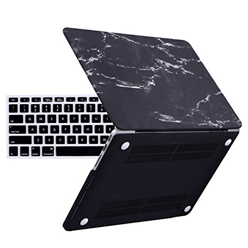 HDE Macbook Pro 13 Inch Retina Case with Keyboard Skin (No CD Rom 2012-2015) Lightweight Hardshell Protective Cover fits Apple Macbook Pro 13 Models A1425 / A1502 (Black and White) (Hardshell Case For Macbook Pro 13)