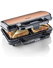 Bestron ASM90XLCO XL Sandwichmaker, tosti-ijzer voor 2 sandwiches met antiaanbaklaag, 900 watt, zwart/koper