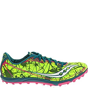 Saucony Women's Shay XC4 Spike Cross Country Spike Shoe,Citron/Navy/Pink,10 M US