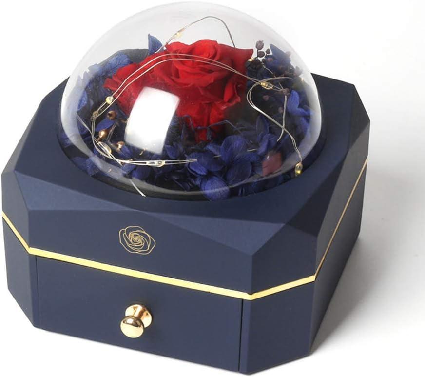 DZX Caja de Anillo con luz LED, Compromiso, Matrimonio, joyero portátil para Pendientes, Collares, Anillos, Organizador de joyería de Viaje de plástico para cumpleaños A 11,9 * 11,5 cm