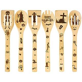 Aneco 6 Pieces Halloween Wooden Utensils Set Wooden Cooking Spoons Healthy Nonstick Wooden for Home Kitchen