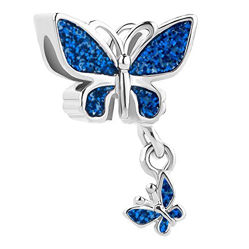 Third Time Charm Dangle Purple Butterfly Charm Beads For Bracelets (Blue 1)