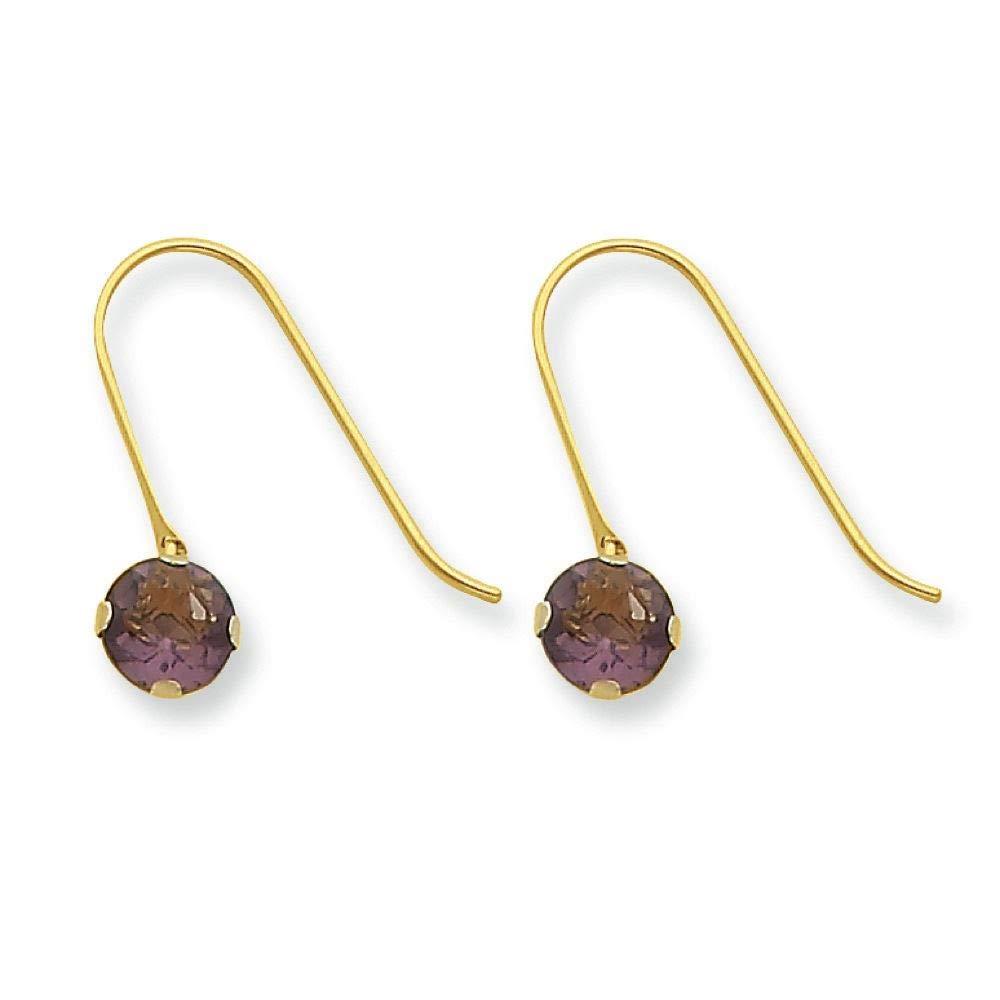 14K Yellow Gold Madi K Childrens 5 MM Synthetic Amethyst February Birthstone Dangle Earrings