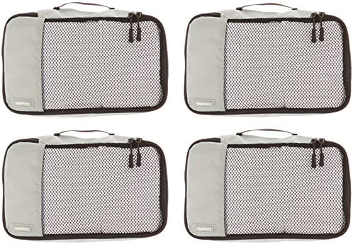 AmazonBasics Small Packing Travel Organizer Cubes Set, Gray - 4-Piece Set
