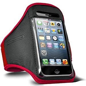 Fone-Case Nokia Asha 203 Adjustable Sports Fitness Jogging Arm Band Case (Red)