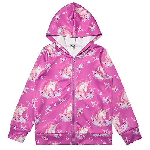 Hoodie for Girls Flower Unicorn Zip Up Jackets Sweatshirt Red Winter Outfit
