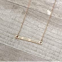 Personalized Dainty Bar Necklace Special Date Necklace Roman Numeral Necklace Christmas Gift - 2N