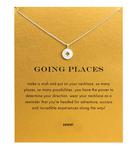 SEWEI Friendship Clover Necklace Unicorn Good Luck Elephant Cross Starfish Swan Necklace with Message Card Gift Card (Compass Sliver)