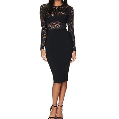 FORH Damen Mode Kleid Spitzenkleid Sexy Langarm O-Ausschnitt Kleid ...