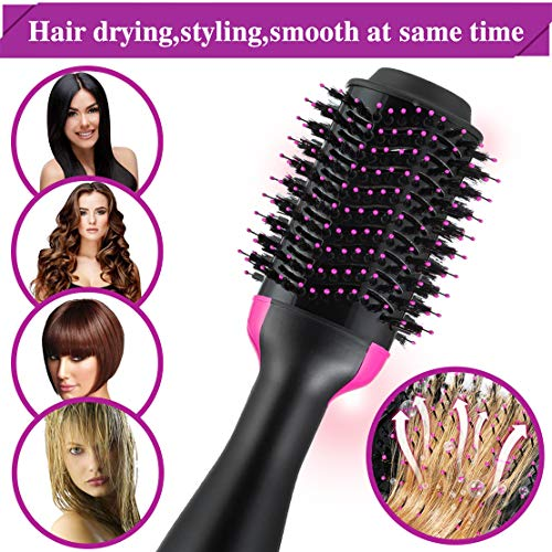 Hot Air Hair Brushes One Step 3-in-1 Hair Dryer Volumizer Negative Ion Hair Straightener Hair Curler Hair Styler Straightening Brush Hot Air Spin Brush Salon Curly Hair Comb Reduce Frizz Static
