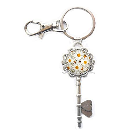 Amazon.com: Daisies Key Ring Llavero de flores. Flores ...