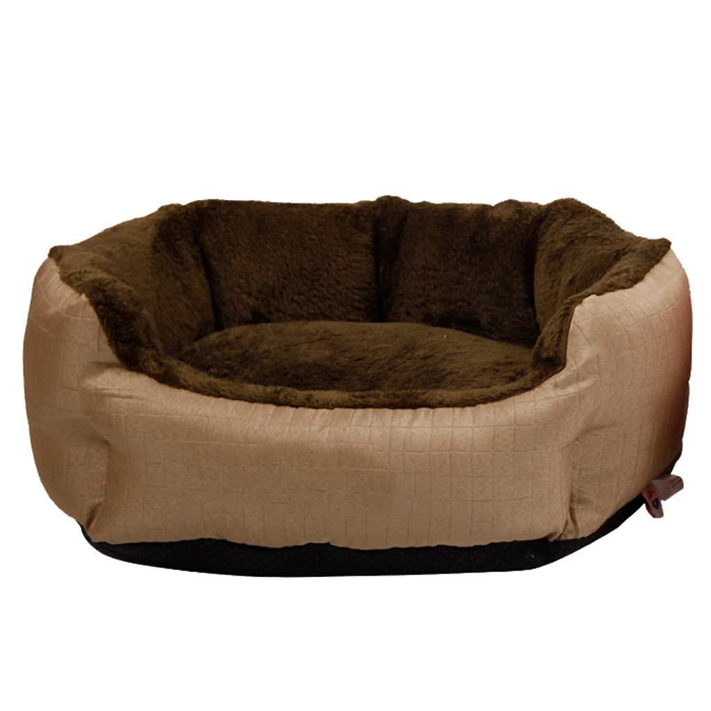 Brown M(7 kg inside pet) Brown M(7 kg inside pet) Pet Nest Four Seasons General Small and Medium Detachable Washable Cat Kennel Villa Warm Mat 2 color Optional MUMUJIN (color   Brown, Size   M(7 kg Inside pet))