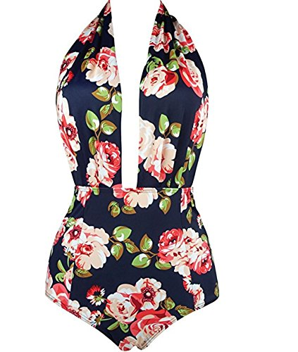 (Swimsuit Female Sense Digital Swimsuit Hundred Flowers one-Piece Swimsuit,Picture 10,M)