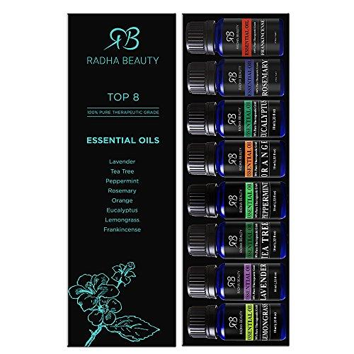 Aromatherapy Top Essential Oils Set 100% Pure & Therapeutic Grade - Basic Sampler Gift Set & Kit (Lavender, Tea Tree, Eucalyptus, Lemongrass, Orange, Peppermint, Rosemary, Frankincense)