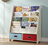 SEIRIONE Kids Book Rack, 4 Sling Bookshelf, 2 Storage Boxes and Toys Organizer Shelves, Beige, 1 Year Warranty